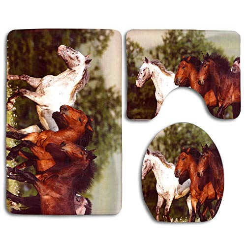 Mustangs Tissue Box Cover - Soft Comfort Bathroom Mats, Anti-Skid Absorbent Toilet Seat Cover Bath Mat Lid Cover,3pcs/Set Rugs, Unique Bath Decorative (Mustangs Horse Herds Wild Horses)