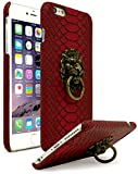 Bastex iPhone 6 Plus Case, Ultra Slim Fit Protective Vintage Rock Lion Head Door Knocker, with Red Gator Skin Textured PU Leather Fashion Hard Back Cover for Apple iPhone 6s Plus