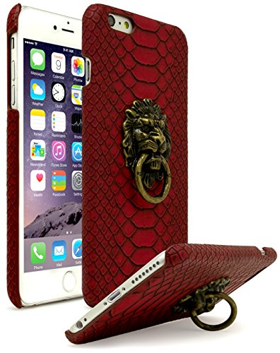 Bastex iPhone 6 Plus Case, Ultra Slim Fit Protective Vintage Rock Lion Head Door Knocker, with Red Gator Skin Textured PU Leather Fashion Hard Back Cover for Apple iPhone 6s Plus ()
