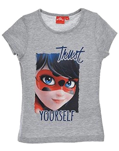 Miraculous Ladybug Girls Official Licensed Grey Tshirt Age 5-6 Years