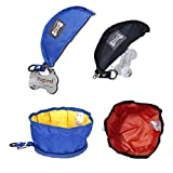 Santune 2-Pack Collapsble Portable Dog Bowl Floding Travel Pet Food and Water Bolws for cats and dogs (Black+Blue)