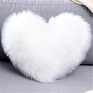 Aovie Heart Shaped Pillowcase Throw Pillow Cushion Cover Long Plush Cushion Pad Pillowslip Washable Fluffy Soft & Comfortable Decorative Pillow Cover for Living Room Sofa Bedroom