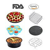 Sonyabecca Air Fryer Accessories 6pcs for Growise Phillips Cozyna Fit all 3.7QT 5.3QT 5.8QT Deep Fryer 7inch Accessory
