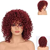 GNIMEGIL Red Curly Afro Wig with Bangs Fluffy Curly Wig Afro Kinkys Curly Hair Wig Synthetic Heat Resistant Wigs Curly Full Wigs for Black Women