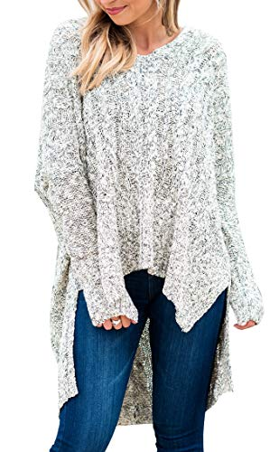 BOCOTUBE Women Sweaters Casual V Neck Long Sleeve Loose Fit Knit Sweater Pullover Top