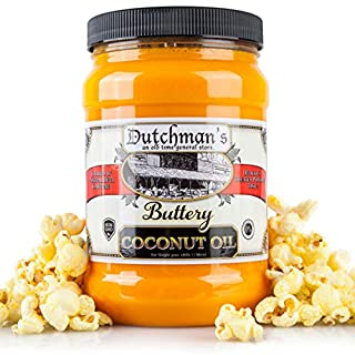 Dutchman's Popcorn Coconut Oil Butter Flavored Oil, 30oz Jar - Colored with Natural Beta Carotene, Makes Theater Style Popcorn, Top Rated, Vegan, Healthy, Zero Trans Fat