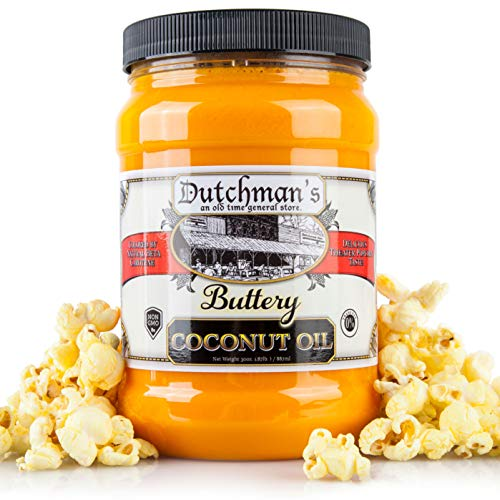 Dutchman's Popcorn Coconut Oil Butter Flavored Oil, Colored with Natural Beta Carotene, The Secret to Making Awesome Popcorn at Home, 30oz Jar - Top Rated, Vegan, Healthy, Zero Trans Fat (Best Oil For Popping Popcorn)