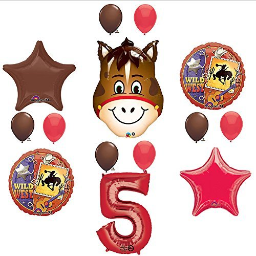 Mayflower Products Wild West Cowboy Western 5th Birthday Party Supplies and Balloon Decorations