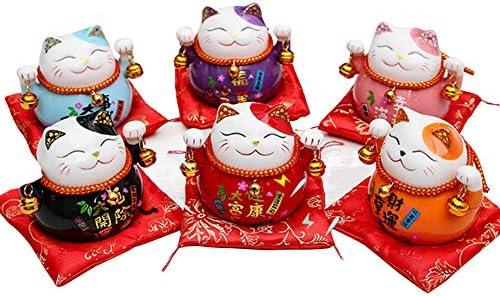 Tgfer 4.5 Ceramic Maneki Neko Lucky Cat Coin Bank 6 PCS Set