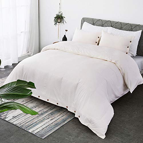 Bedsure 100% Washed Cotton Duvet Cover Sets Queen Full Size Cream Bedding Set 3 Pieces (1 Duvet Cover + 2 Pillow Shams)