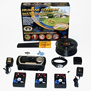 Humane Contain X-10 Rechargeable Electronic Fence + Sound Barrier SB-3 3-Station Indoor Sonic Dog & Cat Fence Click on image for further info.