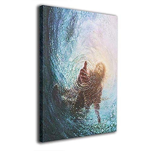 - POOPEDD Jesus Reaching Into Water Oil Painting Digital Print On Wall Art Canvas Home Decor Canvas Paintings for Kitchenroom Ready to Hang