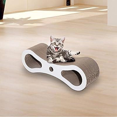 PawHut Scratching Cat Lounge Scratcher Pet Kitten Play Bed House Furniture Beige