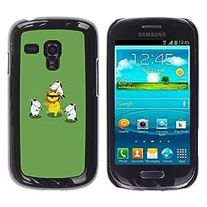 Be Good Phone Accessory // Dura Cáscara cubierta Protectora Caso Carcasa Funda de Protección para Samsung Galaxy S3 MINI NOT REGULAR! I8190 I8190N // Animal Cartoon Lion Green