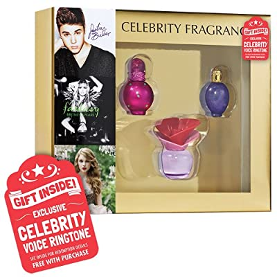 Celebrity Collection containing .25oz EDP Justin Bieber Someday + .16oz EDP Britney Spears Fantasy + .17oz EDP Taylor Swift Wonderstruck