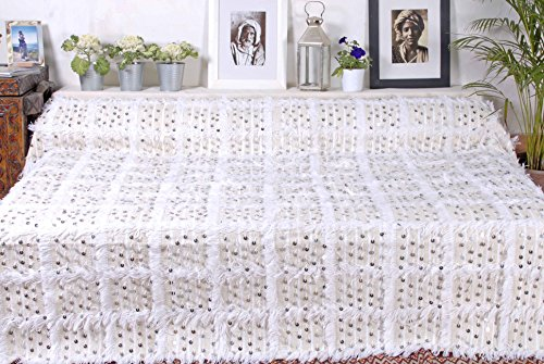 Moroccan Handira Wedding Blanket Throw Bedspread, Hand Crafted with Wool, Cotton & Sequins (BHN9)