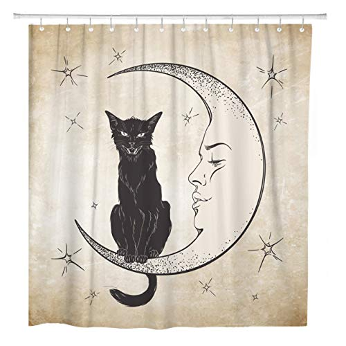 ArtSocket Shower Curtain Vintage Black Cat Sitting Moon Wiccan Familiar Spirit Engraving Home Bathroom Decor Polyester Fabric Waterproof 72 x 78 Inches Set with Hooks