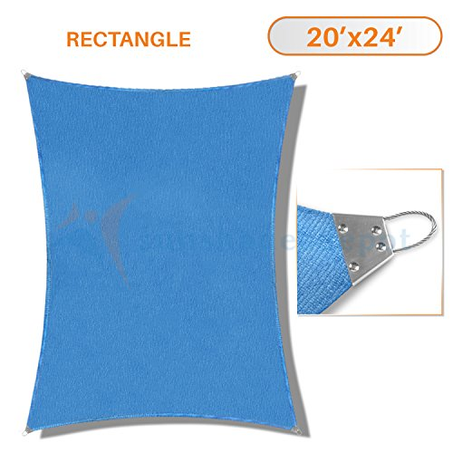 Sunshades Depot 20'x 24' Reinforcement large Sun Shade Blue Rectangle Heavy Duty Metal Spring / Steel Wire Outdoor Permeable UV Block Fabric Durable Steel Wire Strengthen 160 GSM by Sunshades Depot