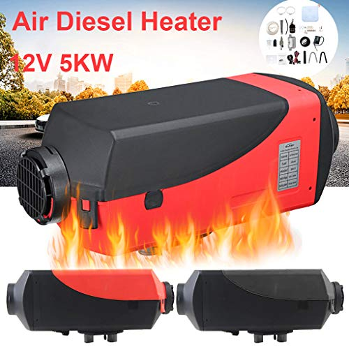 Car Diesel Air Heater Kit, Elevin(TM) Air Diesel Heater Parking Heater LCD Display 5KW 12V / 24V for Trucks Boat Car Trailer (Red, 12V)