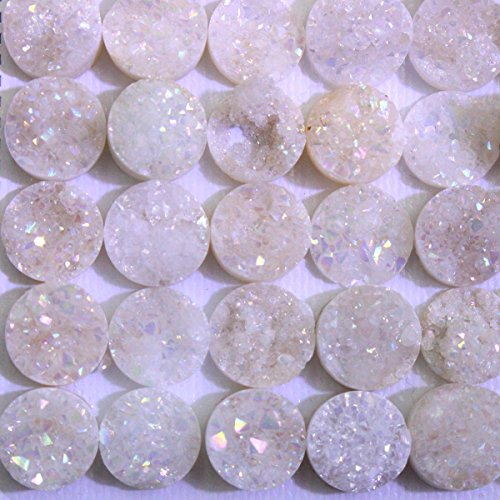 5pcs Natural Gemstone Druzy Agate Coin 10mm Cabochons for Jewelry Making Beads Cabs (cab202) -