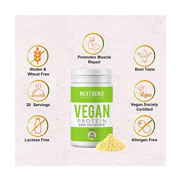 Next Gen U | Vegan Vanilla Protein Powder 500g | Over 70% Protein | Pea Protein Isolate Brown Rice Protein and Hemp Proteins Powders | Amino Acid Low Carbs Gluten Free Dairy Free Premium Nutrition