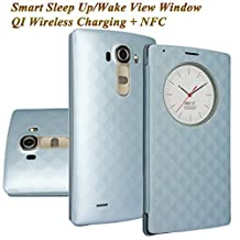LG G4 Case, Aomax Smart Quick Circle wake up/sleep view window, Wireless Charger Qi Standard Wireless Charging receiver IC Chip Attached With NFC Function Cover For LG G4 (Blue)