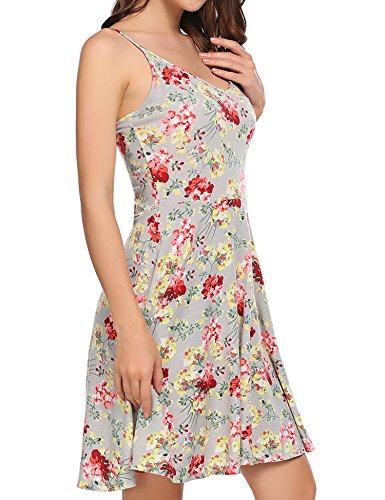 Acevog Vestido De Playa Sin Mangas Con Tirantes Informal Con Flare Y Flare Floral Para Mujer