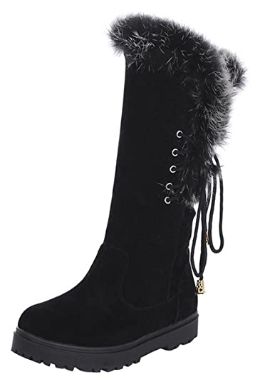 Women's Sweet Bow Platform Faux Fur Lined Mid Calf Snow Booties Low Heels