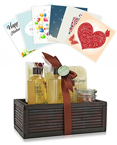 Green Tea Spa Gift (Pinkleaf Green Tea Argan Oil Bamboo Spa Bath Gift Set, Spa Basket,)