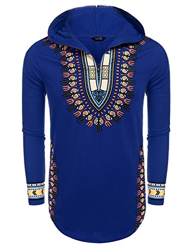 JINIDU Men's African Dashiki Hoodie Shirts Tribal Print Ethnic Sweatshirts