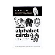 Wee Gallery Animal Alphabet Flash Cards, Black and White Baby Play Cards