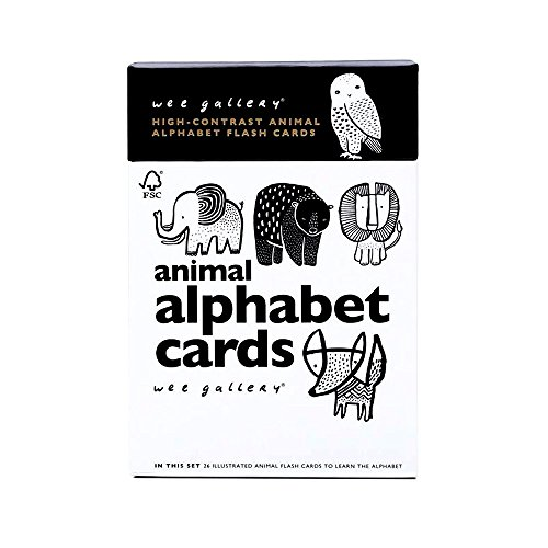 Black And White Cards - Wee Gallery Animal Alphabet Flash Cards, Black and White Baby Play Cards