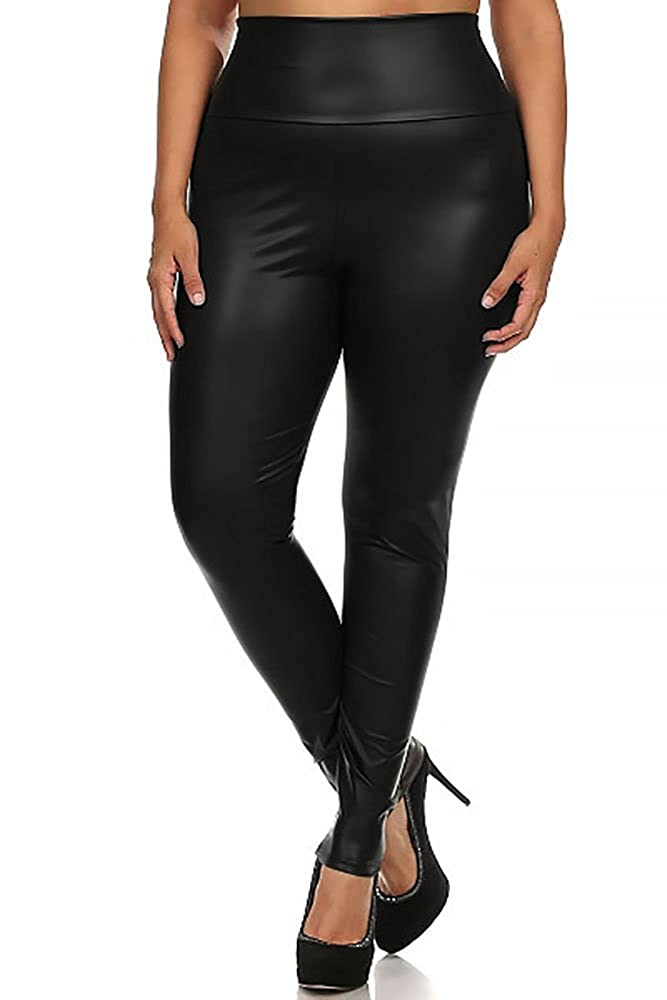 World of Leggings® Plus Size High Waisted Faux Leather Leggings - Made in USA