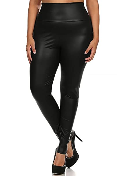available perfect quality elegant and sturdy package World of Leggings® Plus Size High Waisted Faux Leather Leggings - Made in  USA