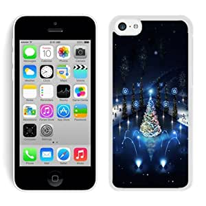 Special Custom Made Lovely Iphone 5C TPU Case Christmas Trees lighting White iPhone 5C Case 1