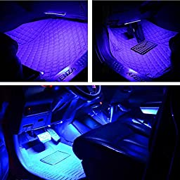 EJ\'s SUPERCAR Car Interior Atmosphere Neon Lights Strip for Car-Car styling Interior Dash Floor Foot Decoration Light Lamp Cigarette LED,Waterproof(Blue)