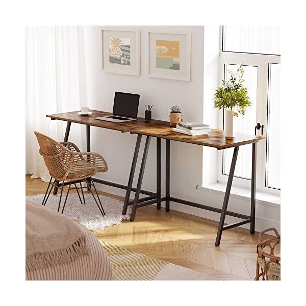 VASAGLE Bureau, Table Informatique, Table d'Ordinateur, Cadre en Acier, Dessus de Table Rustique, Poste de Travail…
