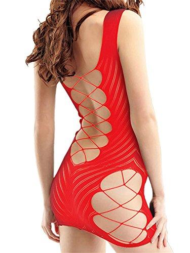 FasiCat Sexy Lingerie for Women for Sex Fishnet Chemise Hot Mesh Mini Dress Red