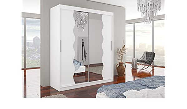 Marca nilight dormitorio espejo armario de puertas correderas Kansas en color blanco mate 180 cm se vende por Arthauss: Amazon.es: Hogar