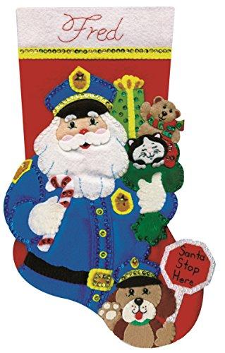 Tobin Policeman Santa Stocking Felt Applique Kit, 18-Inch Long
