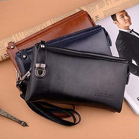 Amazon.com: Cartera larga de piel para hombre, con bolsos de ...