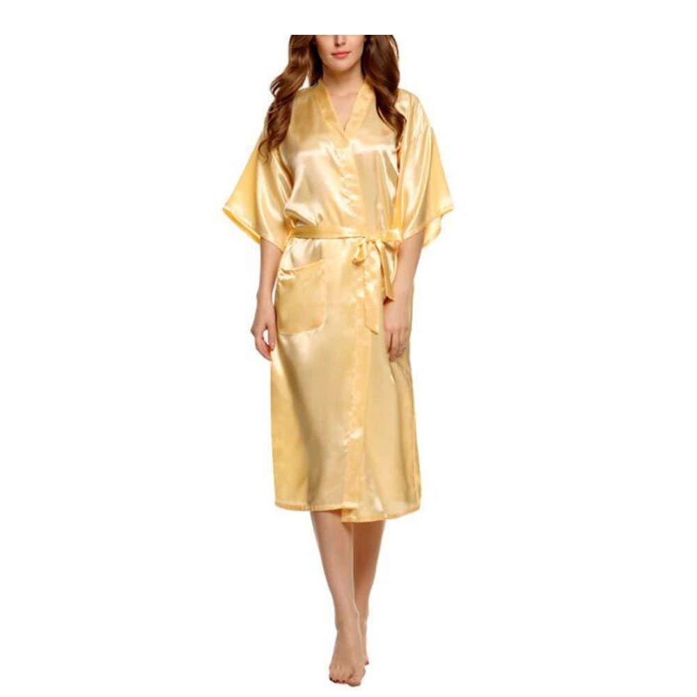 Kimono Mujer Elegantes Moda Ocasional Color Sólido Batas Verano Satín Basic Camisones Mangas 3/4 V-Cuello con Cinturón Pijamas Mujer Albornoz Ropa: ...