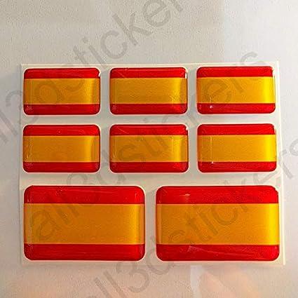 All3dstickers Pegatinas España sin Escudo Resina, 8 x Pegatinas Relieve 3D Bandera España Adhesivo Vinilo: Amazon.es: Coche y moto