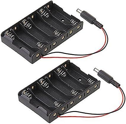 NUOLUX 6 Caja de batería para Pilas AA con Cables, Pack de 2 ...