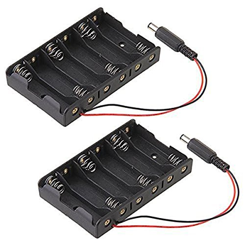 NUOLUX 6-Slot Battery Box for AA Batteries with Wire Leads, Pack of 2 (Black) ()