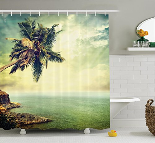Ambesonne Hawaiian Decorations Shower Curtain Set, Palm Tree Rocky Shore Caribbean Mist Honeymoon Traveling Resort Scenic Sun Rays, Bathroom Accessories, 84 inches Extralong (Hooks House Caribbean)