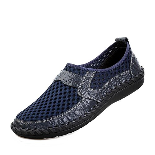 Baymate Mens Breathable Mesh Sport Beach Shoes With PU Decoration Hollow Water Shoes Blue HAzMB
