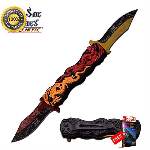 SPRING ASSISTED FOLDING POCKET Sharp KNIFE Dual Blade Red Orange Dragon Fantasy Blade Combat Tactical Knife + eBOOK by Moon Knives