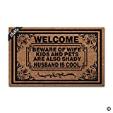 MsMr Doormat Entrance Floor Mat Funny Door Mat Welcome Beware Of Wife Children And Pets Are Also Shady As Well Husband Is Cool Non-slip Doormat Machine Washable Non-woven Fabric Top 23.6''X15.7''