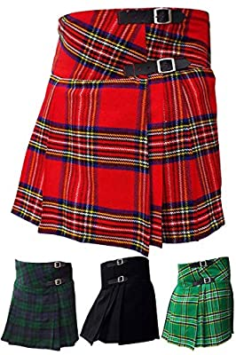 "AAR Womens Billie Kilt Skirt 16"" Length Black Watch, Royal Stewart, Irish Heritage, Plain Black Tartans"
